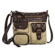Women's Fabric Crossbody Handbag with Contrast Trim - Green