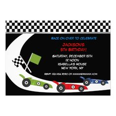 Race Car  Birthday Party Invitations