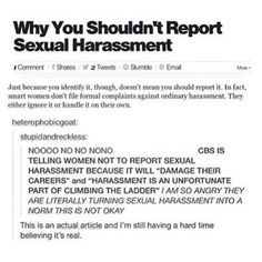 YOU SHOULD 100% REPORT SEXUAL HARASSMENT, THIS ARTICLE IS NOT OKAY