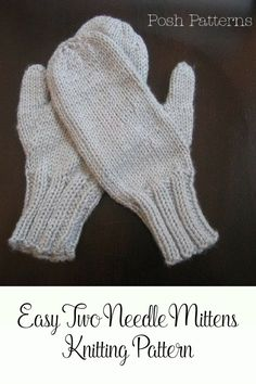 Knitting Pattern - This awesome knit mitten pattern is worked on single point needles, and makes a perfect knitting pattern for beginners. They're perfect for holiday gift giving!