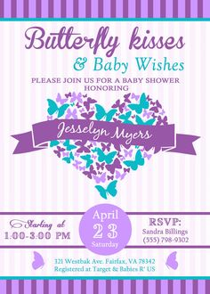 butterfly baby shower invitations butterfly kisses and baby wishes purple teal mint butterfly invitation baby shower invitations girl