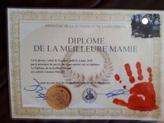 diplome meilleure mamie Occasion, Parents, Frame, Father's Day, The Sea, Birthday, Dads, Picture Frame, Raising Kids