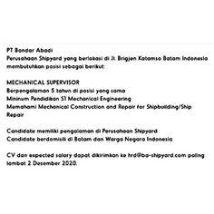 Lowongan Kerja Batam PT. Bandar Abadi Shipyard (01/12/2020) Batam