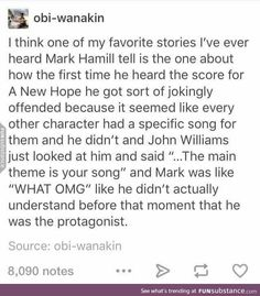Mark Hamill on Star Wars. This is perfection honestly Anakin Vader, What Do You Mean, Star War 3, Mark Hamill, The Force Is Strong, Bad Feeling, Carrie Fisher, Star Wars Humor, Reylo