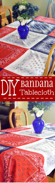 Easy DIY Bandana Tablecloth - An easy DIY sewing craft made from ordinary bandanas. The patriotic red white and blue are super cute for of July and Summer! This IS happening! Diy Summer Clothes, Summer Diy, Diy Clothes, Upcycled Crafts, Sewing Crafts, Sewing Projects, Sewing Ideas, Crochet Projects, Craft Projects