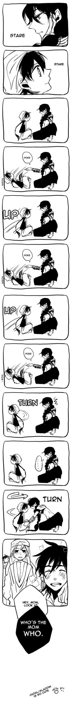 I don't ship them, but... this is adorable. Even though Judal is evil, he is still gorgeous.