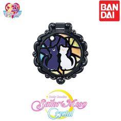 GASHAPON BANDAI Sailor Moon Stained Glass Compact Mirror Luna &Artemis #Bandai