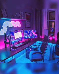What's your favourite thing in this setup? Interested in custom room layout? Gamer Setup, Gaming Room Setup, Pc Setup, Desk Setup, Computer Gaming Room, Computer Setup, Home Music, Neon Room, Video Game Rooms