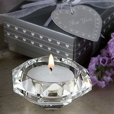 These Choice Crystal Collection Diamond Candle Holders are perfect for lighting a room up with elegance and class. Each multifaceted crystal diamond candle holder holds a white tea light, great for a. Candle Wedding Favors, Candle Holders Wedding, Candle Favors, Unique Wedding Favors, Wedding Party Favors, Bridal Shower Favors, Bridal Showers, Wedding Ideas, Wedding Stuff