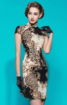 Abstract print modern cheongsam cap sleeve short qipao sheath dress | Modern Qipao