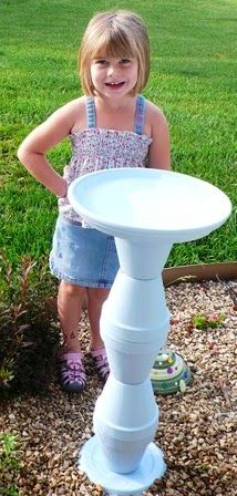 This weekend we made this great bird bath. I just love how it turned out and it looks great in the garden. This would make a great...