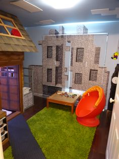 bedroom created to look like the minecraft village created in the computer