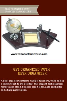 Desk Organizer with Business Card Holder Promotional Products From Wood Arts Universe Business Card Holders, Business Cards, Business Gifts, Office Essentials, Hacks, Diy Décoration, Office Organization, Wood And Metal, Getting Organized