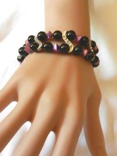 S Curve Purple & Black Beaded Beads Stretch Rhinestones Bracelet