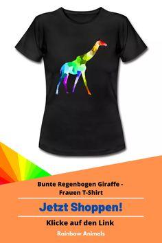 Kaufe dir jetzt dieses T-Shirt für die warmen Tage des Jahres. Lass dir dieses und weitere Tier-Zeichnungen auf deine Damenmode drucken   Schau jetzt in unserem Shop vorbei! Klicke jetzt auf den Link! #T-shirt #Shirt #Damenmode #Stile #Damen-stile #Spreadshirt #Giraffe #Rainbowanimals