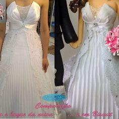 Comparação do vestido da noiva com o resultado em biscuit 😍 amo muito cada detalhe 😊 facebook: Çara arte em Biscuit. #apaixonadapelomeutrabalho #detalhescaraarteembiscuit #noivinhos #noivinhoscaraarteembiscuit #topodebolo #topodebolocasamento #wedding #casamento