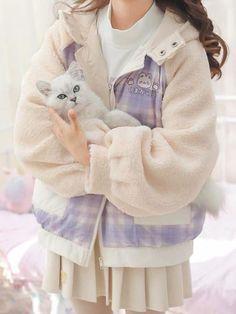 Japan Fashion, Kawaii Fashion, Cute Fashion, Fashion Outfits, Pastel Outfit, Japanese Outfits, Kawaii Clothes, Sweet Dress, Cotton Jacket