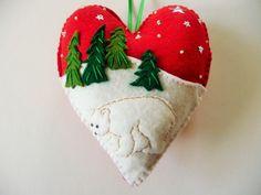 Polar Bear Felt Heart Ornament / Christmas by heartfeltwhimsy, $25.00