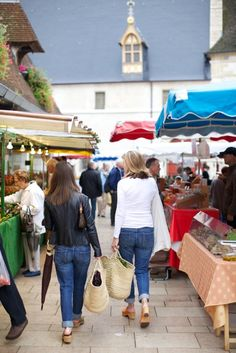 Kerri , u & me ! . The Cook and the Wine girl market shopping in Beaune (photo by Emily Johnston Anderson).