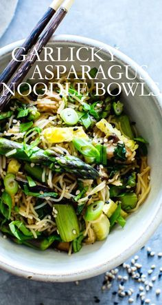 A quick and easy dinner with bold flavors and a little crunch; Garlicky Asparagus, Mushroom and Bok Choy Noodle Bowls. Vegetarian or Vegan + Gluten Free Bean Recipes, Side Recipes, Dinner Recipes, Best Vegetarian Recipes, Healthy Recipes, Mexican Side Dishes, Main Dishes, Clean Eating Salads, Eating Healthy