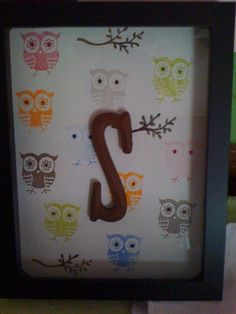 Sawyer's shadow box; November 2009  Each owl is hand-stamped and hand-embellished with glitter.  The branches are also hand-glittered.  When my sister decided to decorate my niece's bedroom in owls, there was a decided lack of owl decor so I solved it by making what I wanted.  This shadow box ended up being one of my sister's favorite baby gifts and is still hanging on the wall in Sawyer's bedroom.