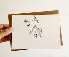 Hand Drawn Christmas Card Mistletoe Card in door mipluseddesign, €5.00