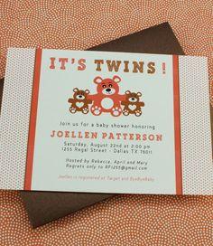 DIY Twins Baby Shower invitation template from #DownloadandPrint. http://www.downloadandprint.com/templates/baby-shower-invitation-template-its-twins/