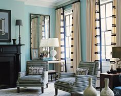 """curtains: 6"""" leading edge with horizontal striping detail, these are 4x fullness and have an ivory wool as the body fabric.  Stephen Gambrel"""