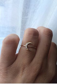 14kt Gold Moon Ring Diamond Moon Ring by charlieandmarcelle, $250.00