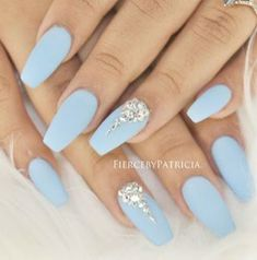 There are three kinds of fake nails which all come from the family of plastics. Acrylic nails are a liquid and powder mix. They are mixed in front of you and then they are brushed onto your nails and shaped. These nails are air dried. Blue And Silver Nails, Light Blue Nails, Light Blue Nail Designs, Blue Diamond Nails, Nails With Diamonds, Baby Blue Nails With Glitter, Blue Nails With Design, Dimond Nails, Jewel Nails