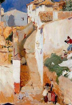 Joaquin Sorolla / Street in Granada Urban Landscape, Abstract Landscape, Landscape Paintings, Landscapes, Oil Paintings, Spanish Painters, Spanish Artists, Art And Illustration, Renoir