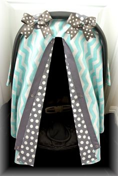 car seat canopy, car seat cover, teal, grey, gray, polka dots, damask, chevron, bows, car seat, infant girl, baby girl, baby boy, infant boy