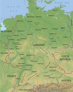 physical map of germany illustrating the geographical features of germany information on topography water bodies elevation and other related features of