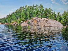 Acrylic on Gallery Canvas Charleston Lake Provincial Park Algonquin Park, Anna, Realistic Paintings, Landscape Paintings, Landscapes, Painting Tips, Scenery, Gallery, Lakes
