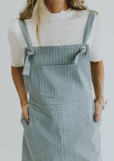 Light blue denim pinstripe overall dress // The Penny Dress in Pinstripe | Pando Grove