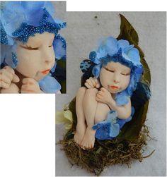 """Bleu Belle Poddling Baby OOAK Fairy Fairies Art Doll Sculpture Polymer Clay 2"""" #Handmade"""