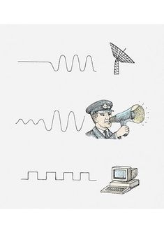 An poster sized print, approx (other products available) - Series of illustrations showing oscillating current and radar telescope, sound wave and man using megaphone, radio waves and PC - Image supplied by Fine Art Storehouse - Poster printed in the USA Pc Image, Noise Sound, Fine Art Prints, Framed Prints, Radio Wave, Poster Series, Sound Waves, Photographic Prints, Fine Art Paper