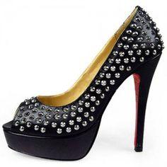 Christian Louboutin Arielle Studded Peep Toe Pumps Black