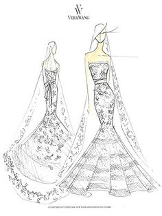 Hillary Scott's Custom Vera Wang Wedding Gown sketch