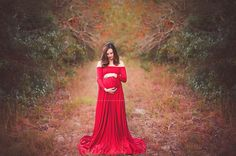 Scarlet Red Maternity Dress with Sleeves, Luxurious Fabric, Maternity Photography Prop, Maternity Prop, Belly Dress,White Dress