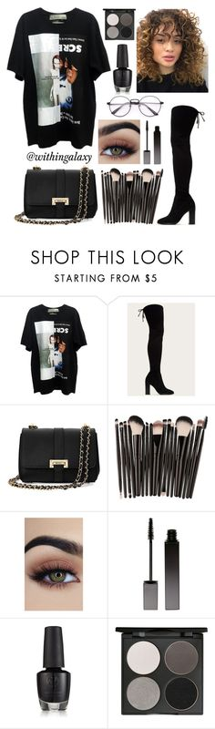 """""""NYFW - black"""" by withingalaxy ❤ liked on Polyvore featuring Frye, Aspinal of London, Serge Lutens and Gorgeous Cosmetics"""