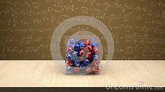 Neutron box with proton and electron.