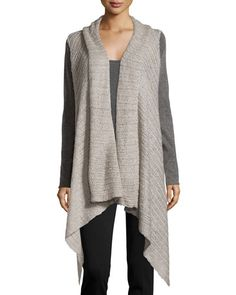 Neiman Marcus Draped Wool-Blend Long Cardigan, Heather Gray New offer @@@ Price :$144 Price Sale $80