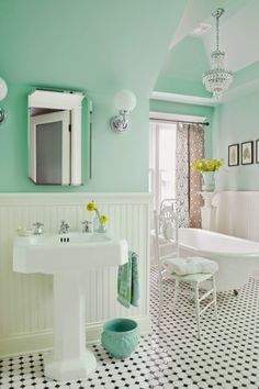 House of Turquoise: Anna Forkum I love the fresh wall color (Benjamin Moore Spirit in the Sky *mint green bathroom Mint Green Bathrooms, Mint Bathroom, Bathroom Floor Tiles, Colorful Bathroom, Turquoise Bathroom, Bathroom Small, Tile Floor, Downstairs Bathroom, Bathroom Colors