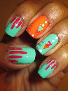 April Tri Polish Challenge, Day 4, Color Club, Edie, Jackie OH!, Koo-Koo CaChoo, stripes, triangles, neon, bright, tribal, pink, orange, turquoise, nails, nail art, nail design, mani