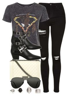 """""""Style #10490"""" by vany-alvarado ❤ liked on Polyvore featuring Chanel, Topshop and Yves Saint Laurent"""