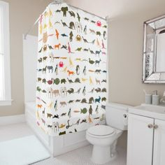 #Colorful Animals Pattern #3 Shower Curtain - #Bathroom #Accessories #home #living