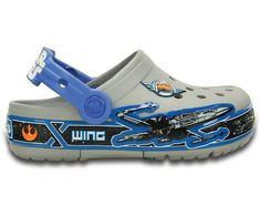Get ready for some epic action. The first thing you'll notice is the X-Wing™ fighter silhouette flying around the bottom band — the raised graphics give it great detail and dimension. The bottom band lights up with every step, adding to the fun. This clog is made with our Croslite™ foam for all of the cushion and comfort kids love. If you're on a mission for fun, these are your clogs. Free shipping on qualifying orders.