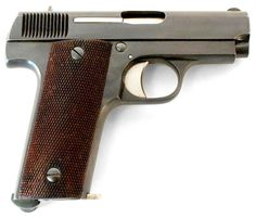 Ruby-Type Star M1914 semi-automatic pistol    Manufactured by Garate Anitua (GN), sub-contractor of Star Bonifacio Echeverria, S.A. in Eibar, Spain, c.1914-who the fuck knows. Known by the French army as the Pistolet Automatique Type Star.  .32ACP/7,65mm Browning seven-round magazine, blowback semi-automatic.  One of the many types of pistol France contracted Spain to produce at the outset of WW1 that fell under the blanket term 'Ruby pistol',