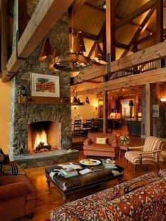 Traditional Living Room Great Rooms Design, Pictures, Remodel, Decor and Ideas - page 5 Cabin Design, Home Design Decor, House Design, Rustic Design, Interior Design, Chalet Design, Cosy Interior, Interior Door, Modern Interior